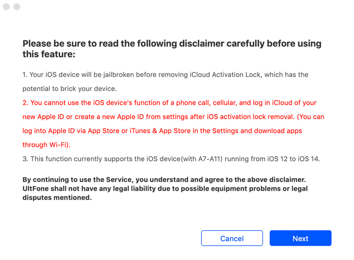 agreement before using icloud activation unlocker software