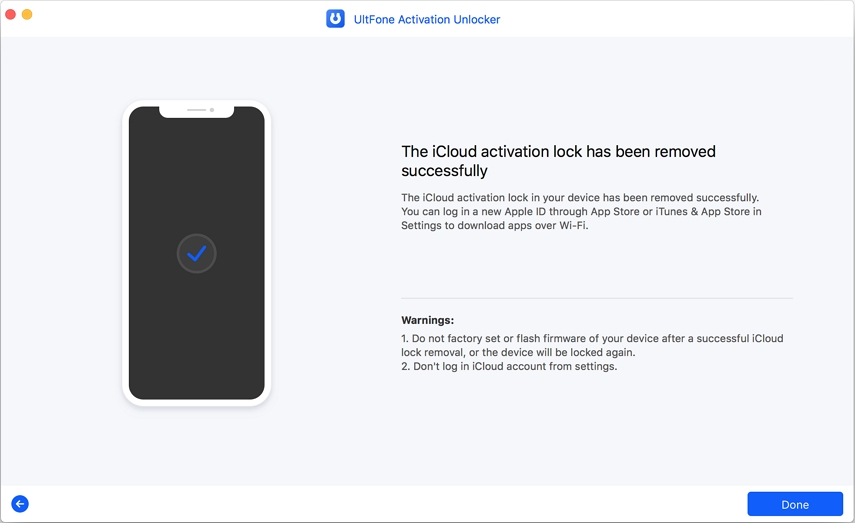 icloud activation lock has been removed successfully