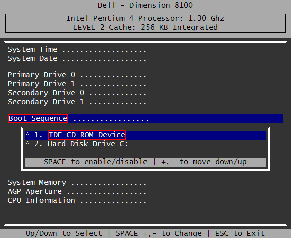 change boot options in dell bios