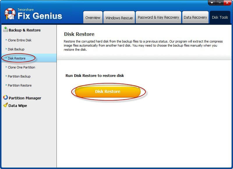 disk restore