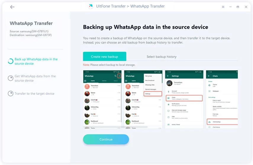 backup whatsapp data on android before transferring