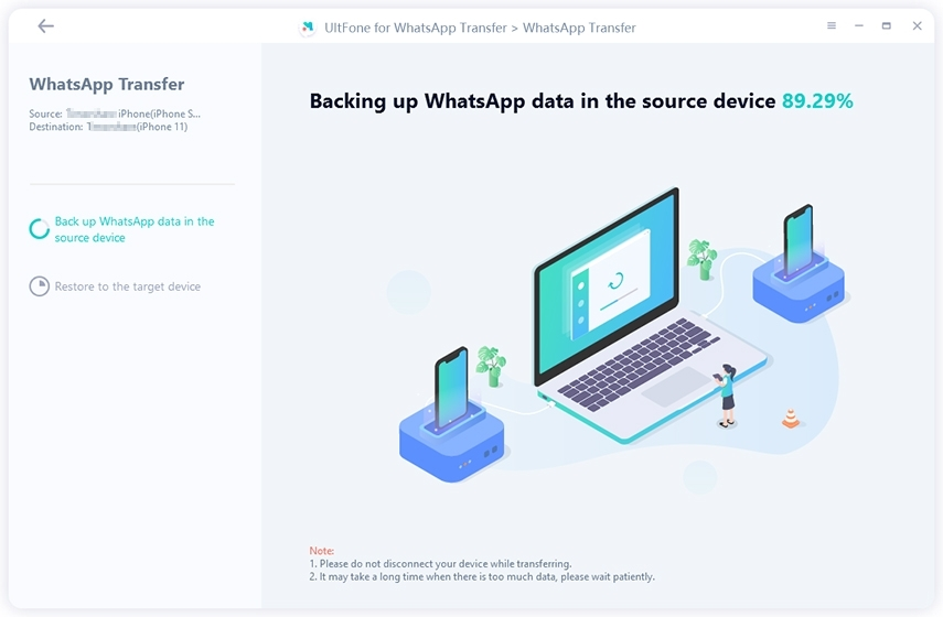 backup whatsapp on the source device before transferring to new iphone