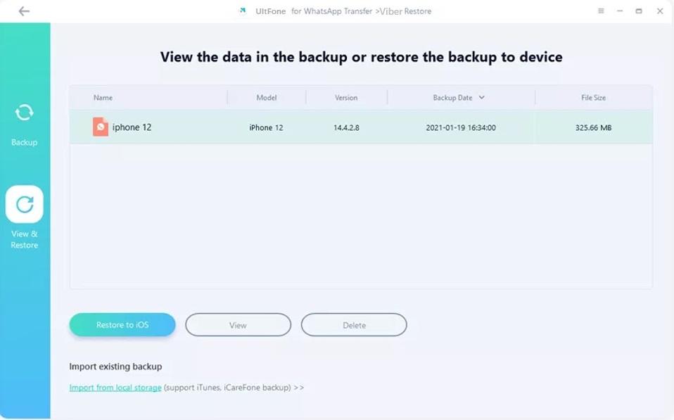 choose viber backup