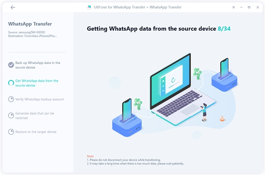 obtain whatsapp data from source device