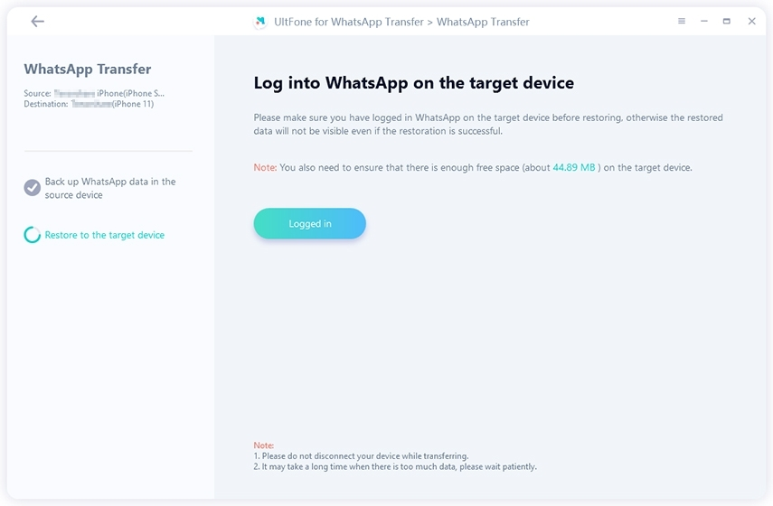 log in to whatsapp on target device before transferring