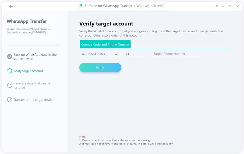 verify whatsapp account on target device