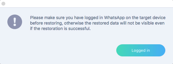 logged whatsapp on iphone before restore