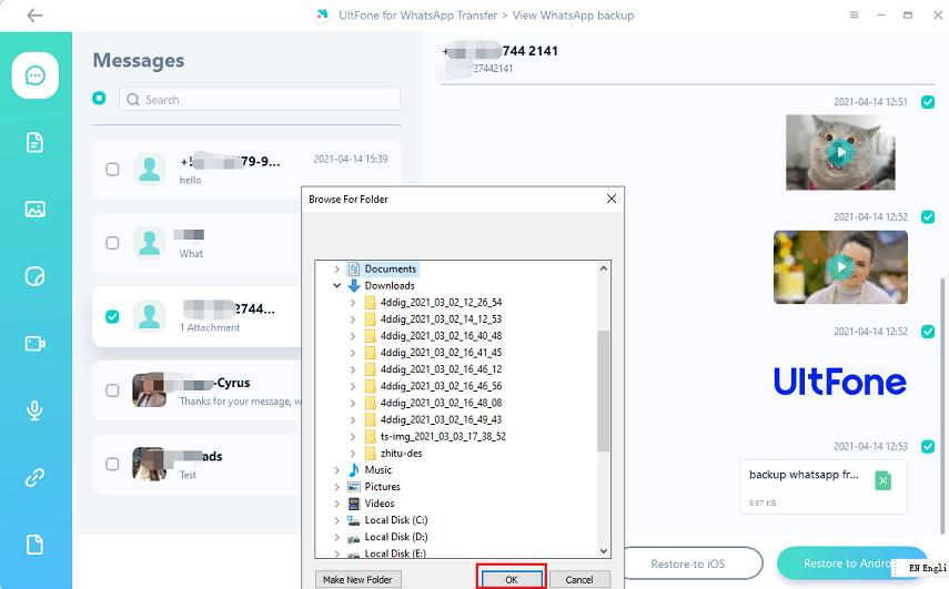restore whatsapp backup on PC