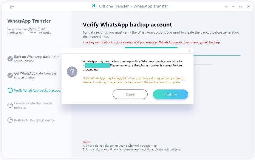 verify whatsapp account prompt