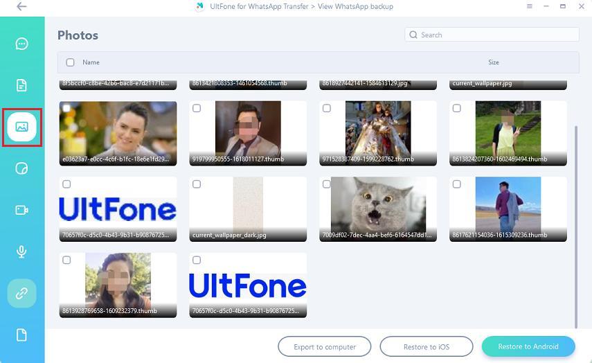 photos on whatsapp backup file