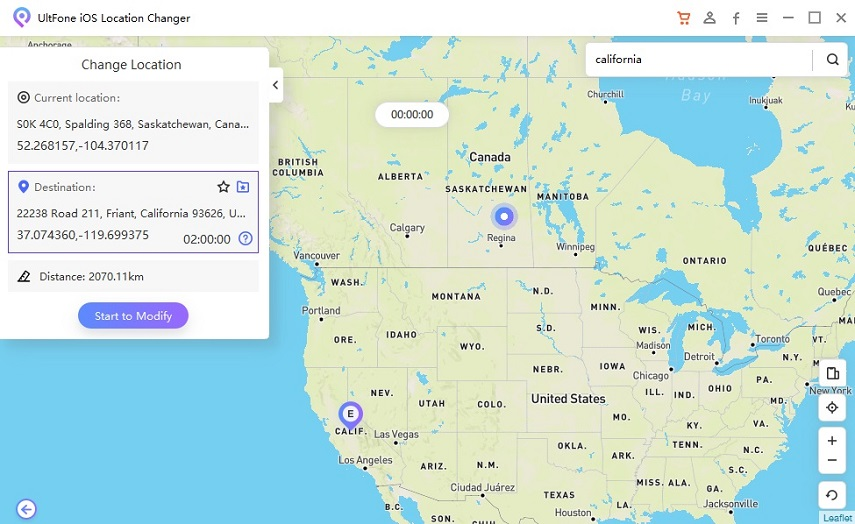 select a virtual address to start change the gps on iphone