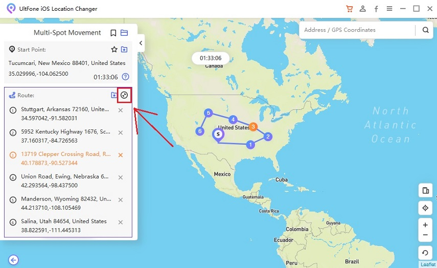 expand and collapse the route on ultfone ios location changer