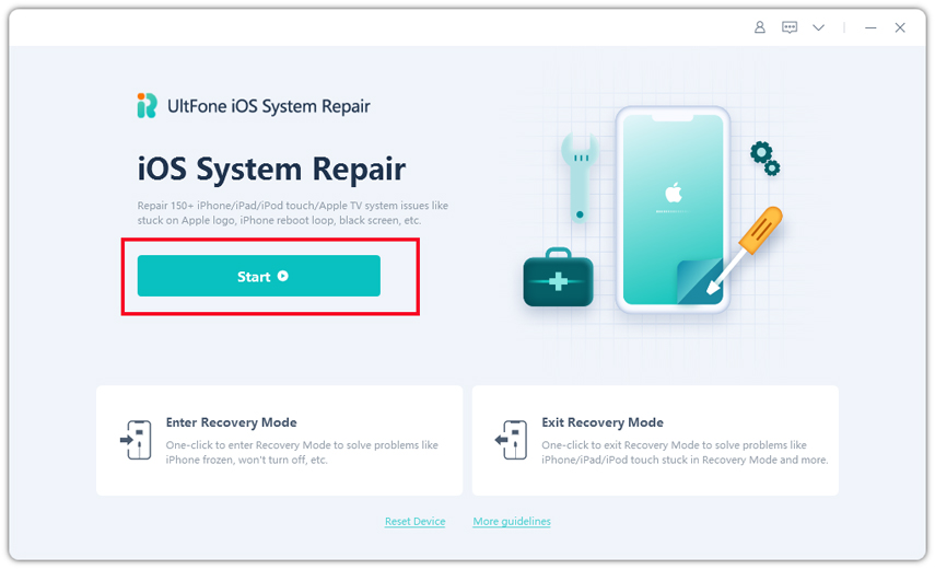 ios system repair feature of ultfone ios system repair