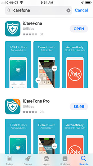 download icarefone app to block ads on iPhone/iPad