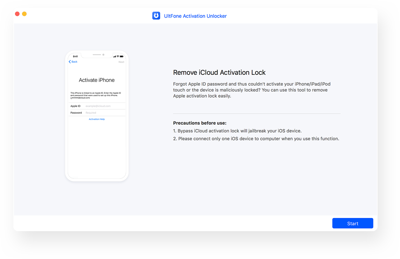 open icloud activation unlocker and connect device