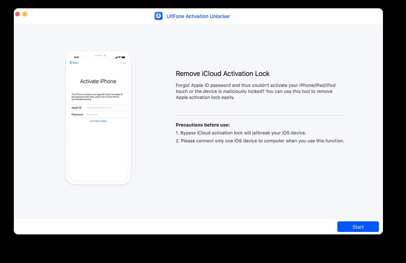 Öffnen Sie den iCloud-Aktivierungs-Entsperrer und verbinden Sie das Gerät