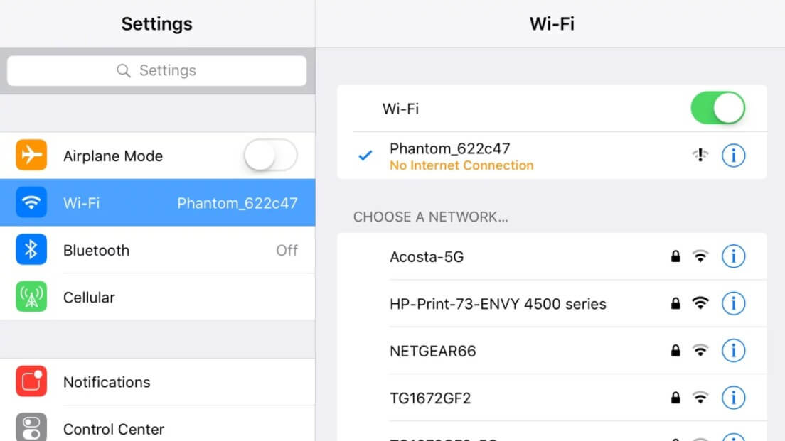 paramètres wifi